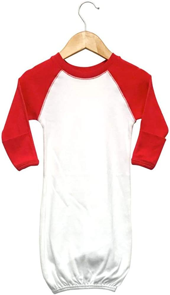 Laughing Giraffe Raglan Baseball Baby Sleeping Gown with fold-Over Mittens (White/Red)