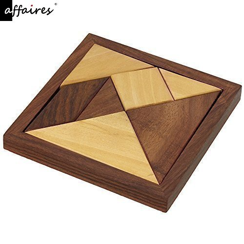 Handmade Wooden Tangram 7-Piece Jigsaw Puzzle - Puzzle Games