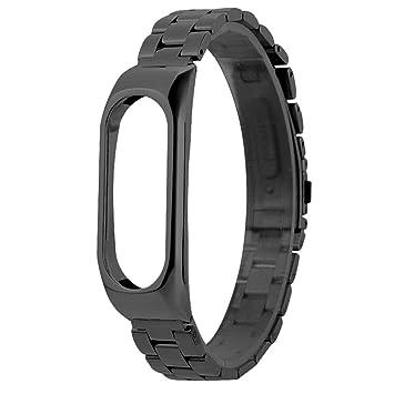 Para Xiaomi Mi Band 2,Pulsera de Lujo de Acero Inoxidable Metal Ultrafino Nueva Correa Correa de reloj ABsolute (Negro): Amazon.es: Deportes y aire libre