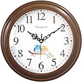 Cheap MorningArt Silent Analog Wall Clock, Non Ticking, Battery Operated, 10″, Cute Owls, Brown
