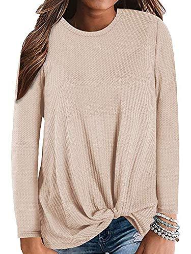 Twist Star - Century Star Women's Long Sleeve Blouse Twist Knot Waffle Knit Tunic Shirts Casual Loose Tops 02 Khaki XX-Large