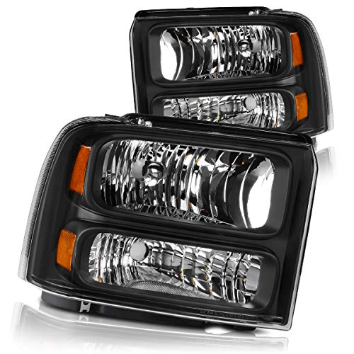 Headlights Assembly for 2005 2006 2007 Ford F250 F350 F450 F550 Super Duty/ 05 Ford Excursion Headlamp Replacement,Black Housing