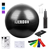 Exercise Ball - Anti Burst Tested yoga ball Supports 2200lbs,Includes Exercise Resistance Loop...