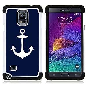 Pulsar (Blue Anchor Marinero Marinero Minimalista) Samsung Galaxy Note 4 IV/SM-N910 SM-N910 híbrida Heavy Duty Impact Pesado Deber de protección a los choques Caso Carcasa de Parachoques [Ne