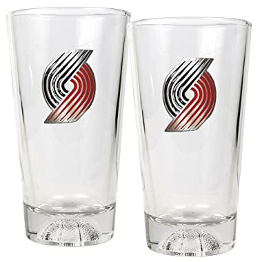 NBA Portland Trail Blazers Pint Glass Set with Basketball Sculpted Base (2-Piece), 16-Ounce, Clear