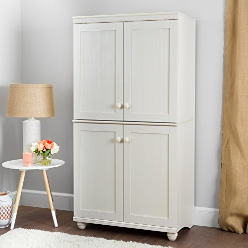 (South Shore Hopedale Tall 4-Door Storage Cabinet with Adjustable Shelves, White Wash)