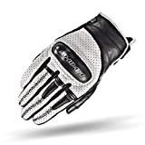 SHIMA Caliber Mens Vintage Leather Motorcycle Gloves - White / XXL