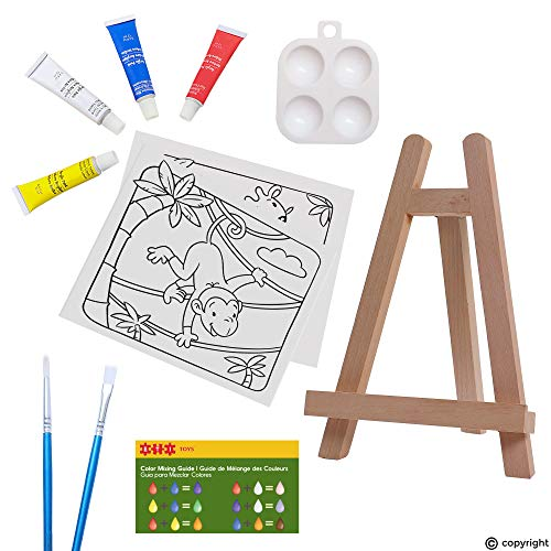 ETI Toys | 11 Piece Kids Art Painting Set with Wood Easel, 2 Wild Animals Themed Canvases, 4 Color Acrylic Paints, 2 Paint Brushes, Palette! Arts Studio for Artist Children Ages 6+ Years Old.