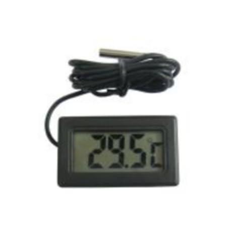 termómetro digital pantalla LCD encastrable negro con sonda Waterproof