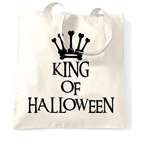 Tote Shopping Bag Gift King Of Halloween Spooky Scary Costumes Creepy Royal Crown Bones Skeleton Ghost Vampire Witch Sweets Candy Cool Printed Shopping Handbag Gift for Women