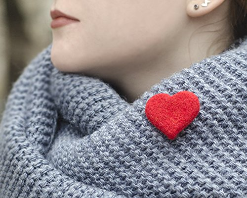 - Handmade Valentine's Day Gift Idea for Women Handcrafted Felt Heart Pin Eco-friendly Jewelry Romantic Gift for Her Cute Brooch Small Pin Heart Jewelry Red Broach Scarf Pin Needle Felted Jewelry