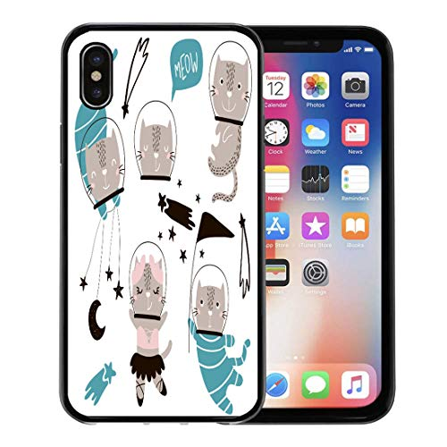 Circus Clipart - Emvency Phone Case for Apple iPhone Xs Case/iPhone X Case,Black Baby Circus Cats Astronauts Clipart Cute Cartoon Characters Soft Rubber Border Decorative, Black