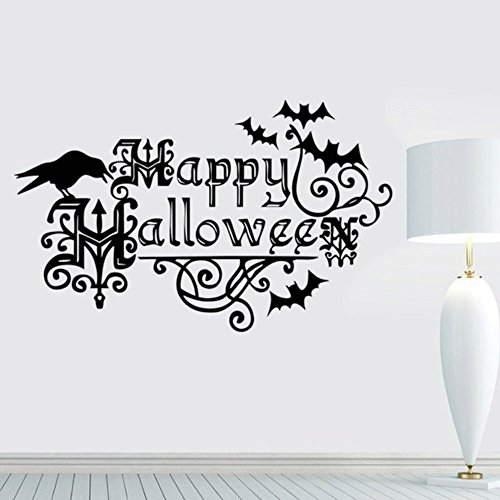 dfphh Life Quotes Wall Stickers Bats for Happy Halloween Quotes Rooms Crow Handmade Decorations Halloween Kids and Party Nursery Halloween Wall 22.213.7inch ()