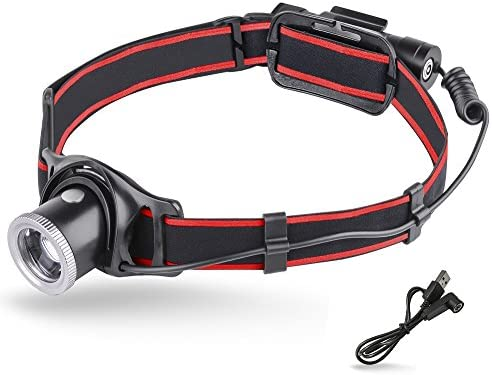 MCCC Super Bright 550 Lumens LED Headlamp Lightweight 90 Angle Adjustable Focus Zoomable Lens Headlight 18650 Rechargeable Battery IP64 Waterproof Perfect for Outdoor Activities