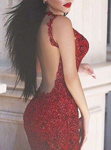 Ballkleid Abendkleider Evening Red Kleides Spitzen Women's Fanciest Kleid Meerjungfrau Sequin Lang Straps fHq0Y