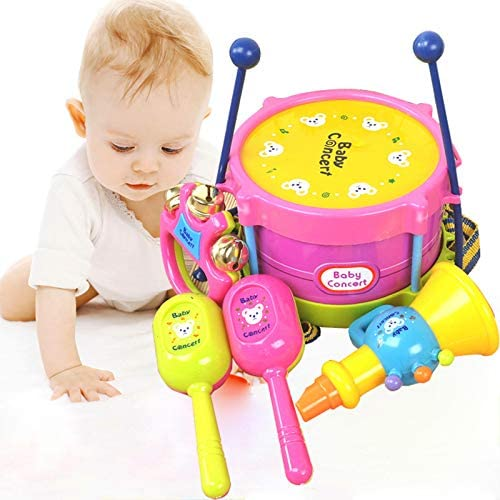 5Pcs//Set Kids Baby Boy Girl Roll Drum Musical Instruments Band Kit Children Toys
