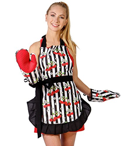 Flirty Aprons for Women and Silicone Grid Oven Mitts Set (Black Trim). Great for gift. (Tesco Halloween Adults Costumes)