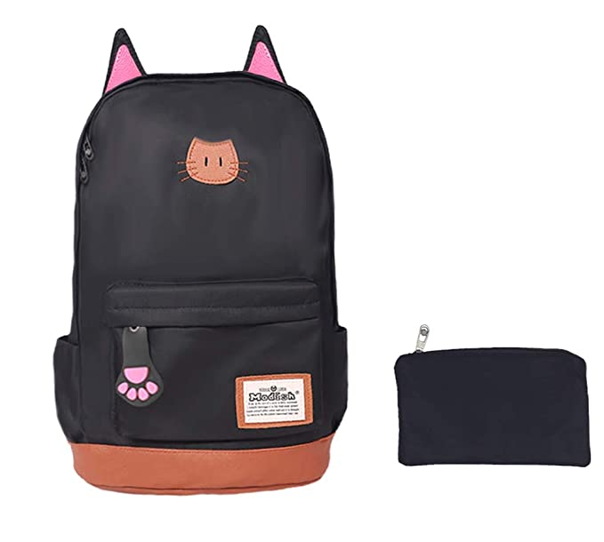 30cb80aa72c Moolecole Leather & Canvas Backpack School Bag Laptop Backpack with Cat's  Ears Design,Set with