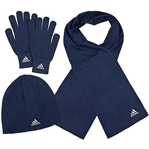 ADIDAS Strick Winter Set Beanie , Schal , Handschuhe / Dunkelblau