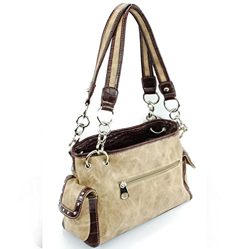 Carry Concealed Multi in Shoulder Cross Colors Embroidered Beige Purse Rhinestone Handbag q5wE8wZ