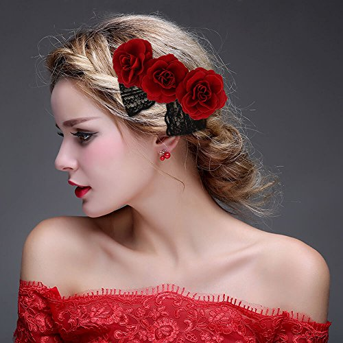 New Rose Hair Dye (ClassicBeauty Elegant Red Rose Hair Clip New 2018 Wedding Women and Girls Hair Accessories Bridesmaids Headpiece)