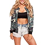 Women's Long Sleeve Zip Up Floral Print Casual Bomber Jacket Baseball Coat
