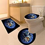 3 Piece Extended bath mat set The Earth from showing Australia and Indonesia Non Slip Bathroom Rugs