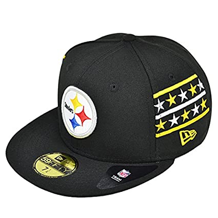 Pittsburgh Steelers FINE SIDE Black Fitted 59Fifty New Era NFL Hat (7 1 4 93a03920d235