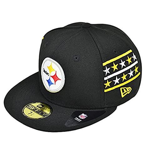 newest 4e717 41161 Pittsburgh Steelers FINE SIDE Black Fitted 59Fifty New Era NFL Hat (7 1 4