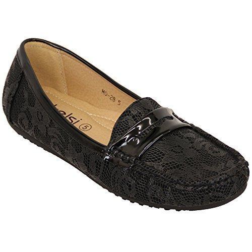 Kelsi Mujer Mocasines Mujer Zapatos Sin Cierres Piel Sintética Flequillos Moda Informal Nuevo - Negro - mo28, 5 UK/38 EU: Amazon.es: Zapatos y complementos