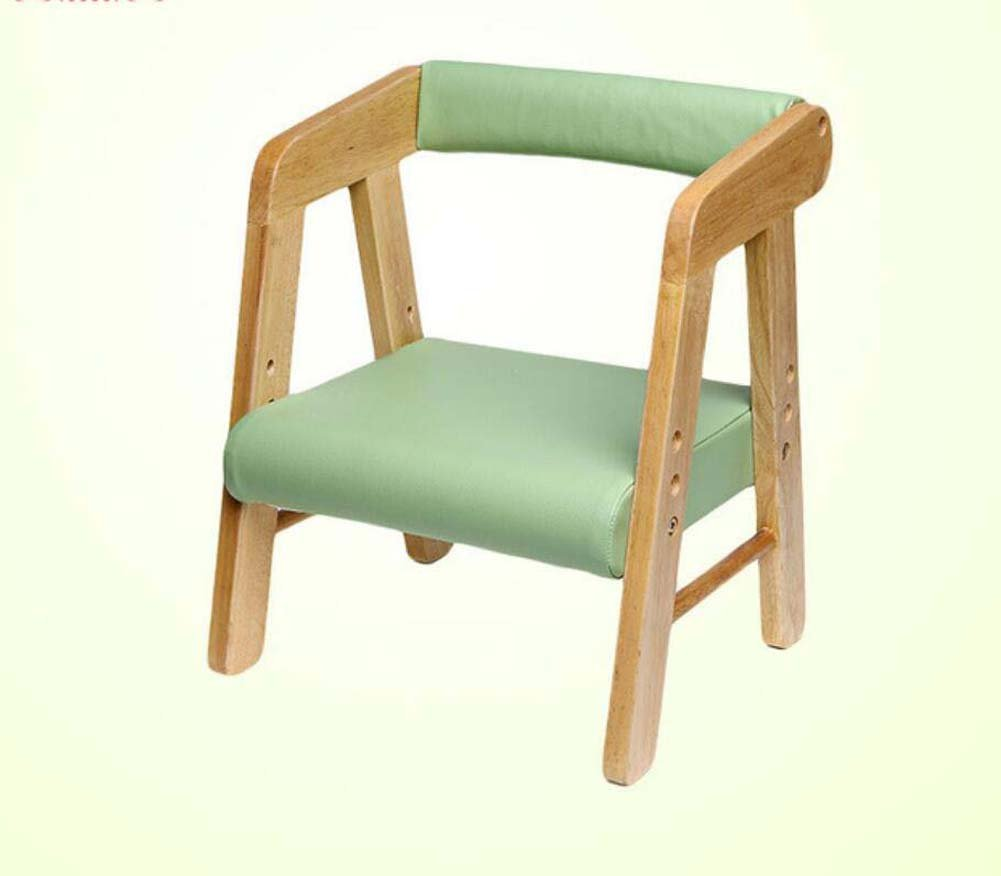 TTrar Portable Folding Chair Children's Wood Chair Stool Backrest Armrest Liftable Stool Learning Chair Bench Seat Convenient and Practical (Color : Green)