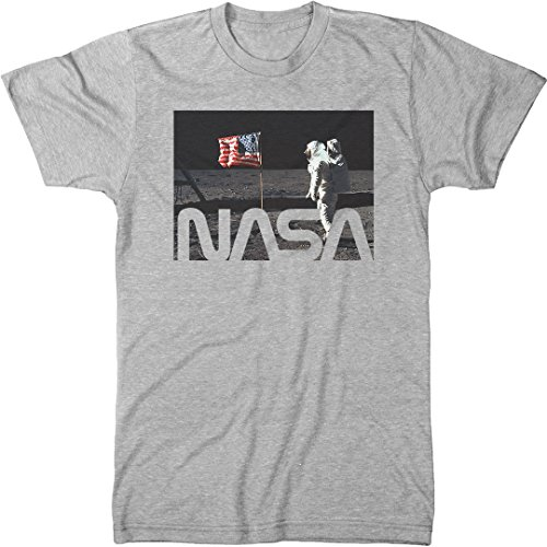 NASA Astronaut On The Moon Men's Modern Fit Tri-Blend T-Shirt (Heather White, Small) ()