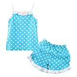 LittleSpring Little Girls' Shorts Set Summer Dot Size 6(tag130) Blue