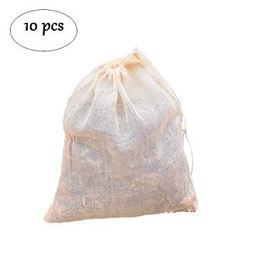Bolsa de filtro de gasa de tela de algodón puro, 10 bolsas de ...