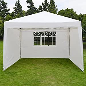 "BenefitUSA 10""x13EZ Pop Up plegable carpa Camping toldo W/bolsa boda carpa con laterales wall-white"