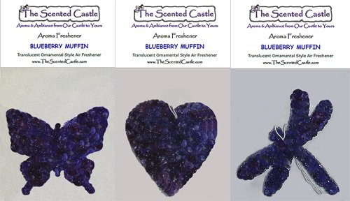 3Pack Blueberry Muffin Scented Air Fresheners in Butterfly, Heart, Dragonfly by The Scented Castle