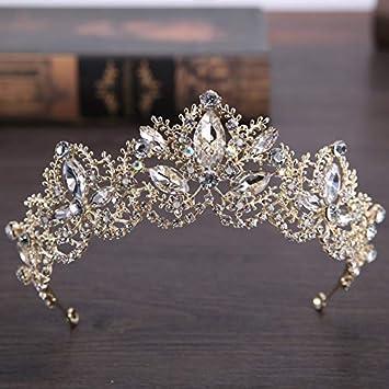 He-shop Barroco de Plata Grande Vintage Claro Princesa de Cristal Reina Diadema Rhinestone Novia Coronas y Tiaras para la Boda Accesorios para el Cabello