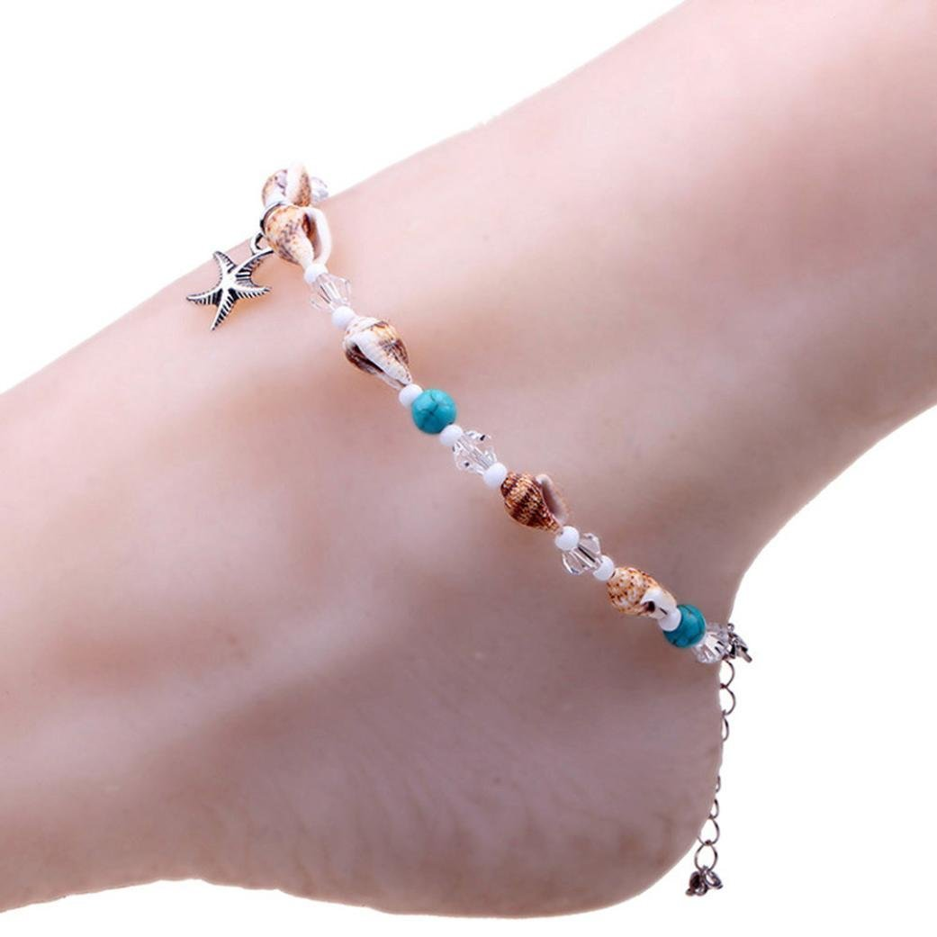 Sinwo Women's Shell Beach Foot Chain Conch Sandal Anklets Beads Bracelet Jewelry Gift (A)