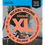 D'Addario EXL110W Nickel Wound Electric Guitar Strings, Regular Light, Wound 3rd, 10-46