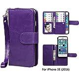 iPhone SE / iPhone 5 5S Wallet Case, xhorizon TM SR Premium Leather Magnetic Detachable Folio Phone Wallet Case with Multiple Card Slots for iPhone SE (2016) / iPhone 5 5S -Purple