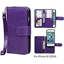 Case for iPhone SE / iPhone 5 5S Wallet, xhorizon TM SR Premium Leather Magnetic Detachable Folio Phone Wallet Case with Multiple Card Slots for iPhone SE (2016) / iPhone 5 5S -Purple