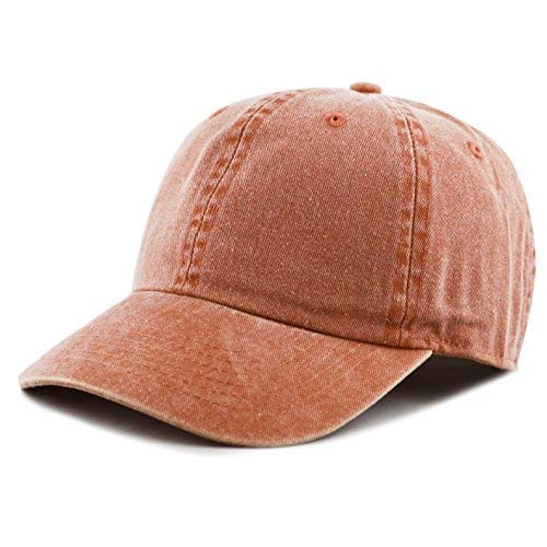 The Hat Depot 100% Cotton Pigment Dyed Low Profile Six Panel Cap Hat (Orange) ()