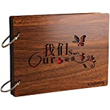 Farway DIY Photo Album Wood Cover Anniversary Scrapbook Album Picture Book with Black Pages for Wedding Guest Book Family Couples Graduation Travel Love Story Memory (Our Story)