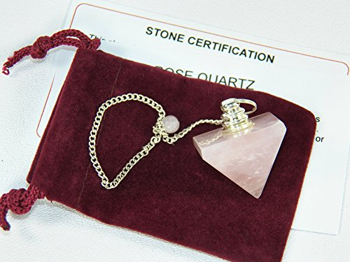 Fundamental Rockhound Products: Rose Quartz Pyramid Pendulum natural gemstone crystal with carrying pouch, info card, stone certification