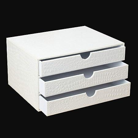 LXYWJJ Carpetas Gabinete de archivador de Cuero Blanco Tipo cajón, Caja de Almacenamiento de Archivos de Escritorio, Caja de Archivos de múltiples Capas. Caja de Archivo (Color : Blanco): Amazon.es: Hogar