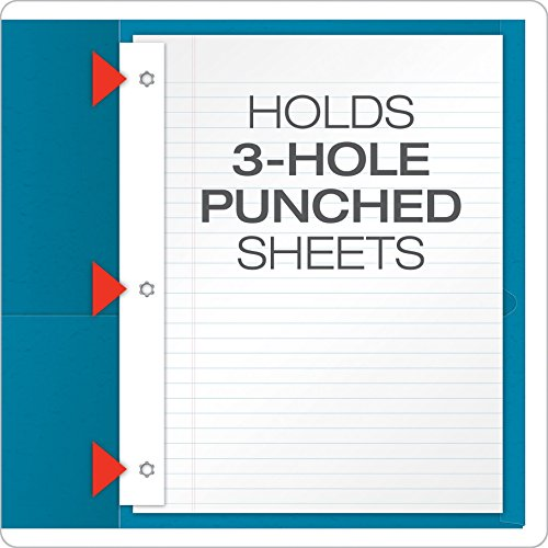 Oxford Twin Pocket Folders with Fasteners, Letter Size, Light Blue, 25 per Box (57701) Photo #4