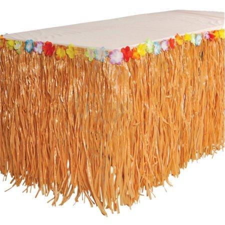 Falda de mesa de hierba hawaiana con diseño de flores de rafia ...
