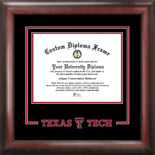 Tech University Diploma Frame - Campus Images NCAA Texas Tech Red Raiders Spirit Diploma Frame, 11 x 14, Mahogany