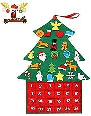 T98 Adventskalender Zum Befüllen, XXL Weihnachtskalender Tannenbaum Filz, Selber Befüllen Kalender mit 24 DIY Weihnachtlichen Ornamente als Geschenk-Kalender für Kinder Mädchen Männer Erwachsene