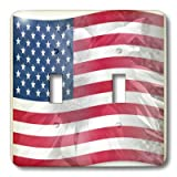 3dRose lsp_41185_2 Double Toggle Switch with Sunflower USA Flag America Patriotic